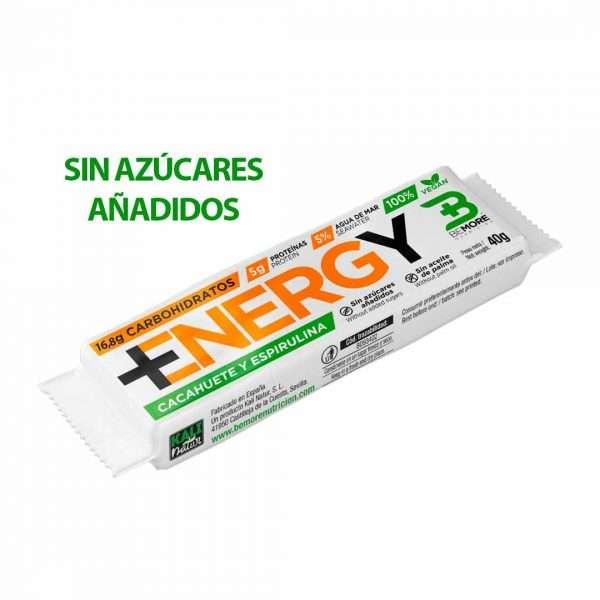 BARRITA ENERGÉTICA NATURAL +ENERGY CACAHUETE Y ESPIRULINA ¡SIN AZÚCARES AÑADIDOS! 40G